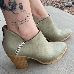 New Mint Green Vegan Leather Heeled Ankle Booties